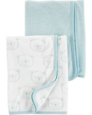 """Carter's Baby Boys 2 Pack Terry Towels Baby Shower Blue Bear 29"""" x 29"""""""
