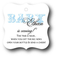 24 Blue Baby Boy Shower Favor Tags Personalized for Champagne Bottle
