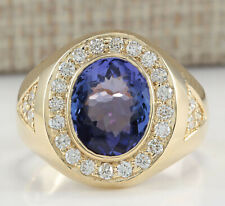 MENS 4.95 Carat Natural Tanzanite 14K Yellow Gold Diamond Ring