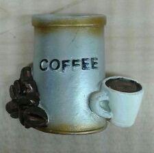 CALAMITA magnete frigo BARATTOLO CAFFE' con TAZZA e chicchi in resina
