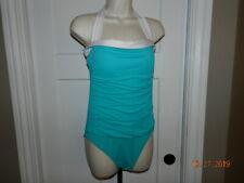 Ralph Lauren One-Piece Halter Swimsuit Bathing Suit Green & White Size 10