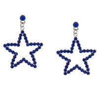 PATRIOTIC 4TH OF JULY COBALT BLUE STAR RHINESTONE DANGLE PIERCED EARRINGS