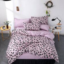 Leopard Print Bedding Sets Girls Pink Duvet Cover Pillowcase Bed Sheet Bed Linen