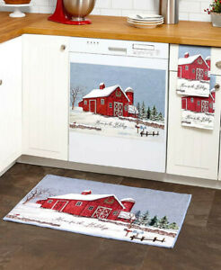 Dishwasher Magnet Cover Red Barn Farmhouse Evergreen Holidays Snow Winter