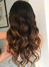 "22"" #1B/4/30 Ombre 6A Brazilian Remy Wavy 180% Density Silk Top Full Lace Wig"