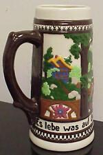 "German Language Raised Relief Beer Stein 8 1/2"" 4-..   Z-404"