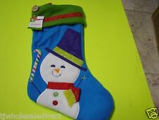 NEW! Christmas Holiday Icon Snowman Blue Stockings Holiday Decorations
