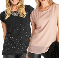 UK Size 6 - 20 Ladies Nude Pink or Black Sparkly Sleeveless Top