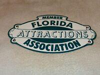 "VINTAGE 1950'S FLORIDA ATTRACTIONS ASSOCIATION 12"" PORCELAIN METAL GAS OIL SIGN!"