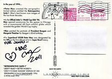 PETER MAX HAND SIGNED 5x7 TWO-SIDED POSTCARD       AWESOME+RARE    GREAT ARTIST