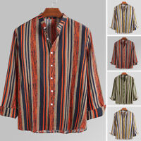 INCERUN Men's Vintage Striped Shirts Long Sleeve Casual Blouse Cotton Tee Tops