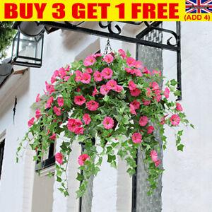 Artificial Fake Silk Morning Glory Flower Vine Hanging Basket Home Decor Hot YE