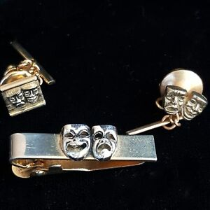Swank Theater Silver Tie Clip Bar Comedy Tragedy Mask Face Tie Tacks Gold Set 3