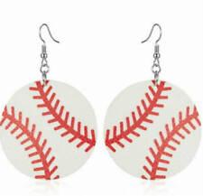 Round Leather baseball, basketball, soccer fishhook earrings - Sports Mom
