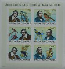 Birds J.J. Audubon & J. Gould m/s Comores Comoros 2008 m/s MNH #CM8201a IMPERF