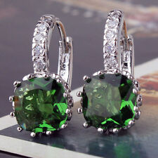 9ct White Gold plated vibrant Emerald Hoop Womens Brand New Earrings uk
