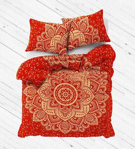Red Gold Lotus Mandala Bedding Set Duvet Doona Cover Set Pillow Covers Throw