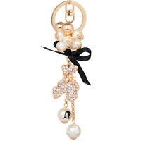 Girls Lovely Bear Pearl Crystal Bowknot Keychain Key Ring Purse Bag Pendant Gift