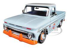 "1966 CHEVROLET C10 FLEETSIDE PICKUP TRUCK ""GULF"" LIGHT BLUE 1/24 MOTORMAX 79648"