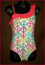 GIRLS TOGS Sz 8 / 10 MULTICOLOUR PEACE SIGN DESIGN SWIMWEAR Bathers - COSSIE New