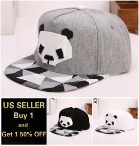 Panda Snapback Hats Flat Baseball Cap Trucker Blank Men Women Hip Hop Adjustable