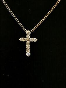 18ct WHITE gold 10 Diamond set (1/3ct) Cross with18ct Chain full UK Hallmark