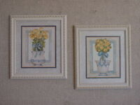 Pair of White Wash Prints  solid wood Print Vintage Home Interiors & Gifts