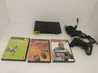 Sony PlayStation 2 PS2 Slim Black Console with 3 Games Bundle & Memory Card