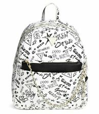 NEW GUESS Lucianna Black White Logo Graffiti Print Chain Backpack Handbag