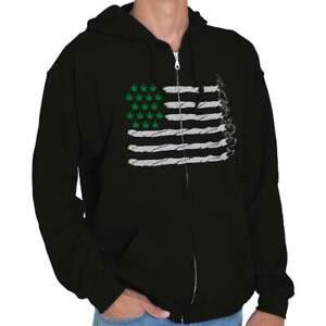Funny Cannabis American Flag 420 Stoner Gift Adult Zip Hoodie Jacket Sweatshirt