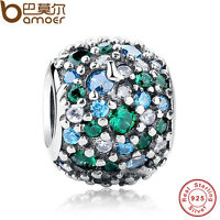 Authentic S925 Sterling Silver Mixed Green CZ & Green Cz Charms Fit P Bracelets