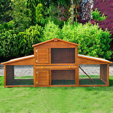 LARGE RABBIT HUTCH GUINEA PIG HOUSE CAGE CHICHEN COOP RUN