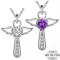 925 Sterling Silver Cross Necklace Pendant Angel Wings Guardian Heart Women CZ