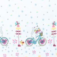 Stoff Jersey Bedruckt Bordüre Blumen Katze Panel Baumwolle weiß rosa 15€/m