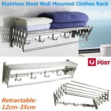 New 80CM Wall Mounted Stainless Steel Clothes Airer Towel Drying Rack Bathroom