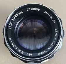 Minolta MC Rokkor-PF 55mm f1.7 Standard Lens - Near Mint Condition.