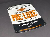 "VINTAGE HARLEY DAVIDSON PRE-LUXE PORCELAIN 11"" X 8"" MOTORCYCLE OIL CAN GAS SIGN"