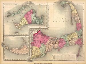 1871 Cape Cod Map 16x12 Art Print Poster Marthas Vineyard and Nantucket POD