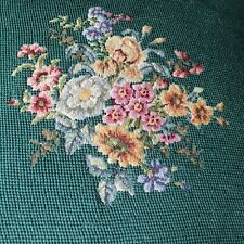 """Antique Vtg rose Needlepoint petit point tapestry pillow green 16""""sq Victorian"""