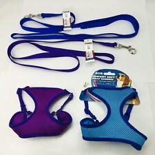 2 Coastal Nylon Leash Leashes Blue & Red + 2 Comfort Wrap Dog Harnesses (XXSmall