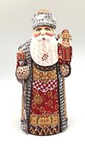 "9.75"" Tall Russian SANTA NUTCRACKER Wood Hand Carved Hand Painted Signed"