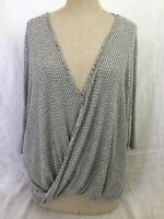 Anthropologie Eri + Ali Women's Top Twist Front Deep V Neck Shirt Sweater Size M