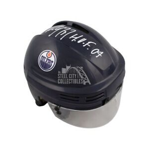 Paul Coffey HOF 04 Autographed Edmonton Oilers Mini Hockey Helmet - BAS COA