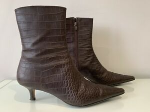 LK Bennett Croc Effect ankle boots size 39 UK 6 Brown Leather