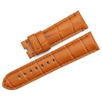 22mm Genuine Leather Alligator Grain Watch Band Strap for Panerai Honey Brown rk