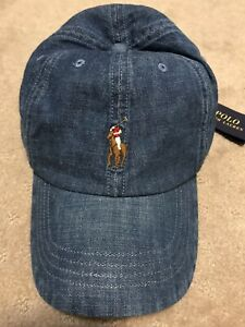 Polo Ralph Lauren Men Baseball Denim Cap Blue New