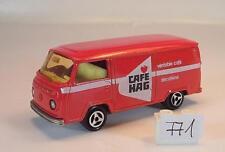 Majorette 1/60 Nr. 244 VW Volkswagen T2 Fourgon Kasten rot Cafe Hag Nr. 6 #771