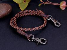 """22"""" Genuine Leather Braided Twisted Trucker Rocker Biker Key Jean Wallet Chain"""