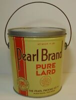 Old Vintage 1950s PEARL BRAND GRAPHIC LARD TIN LARD CAN 4 POUND MADISON INDIANA