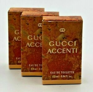 Gucci Accenti Perfume Women 0.04 fl. oz /1.2 ml Edt Vial ( Lot Of 3 Pcs ) Rare